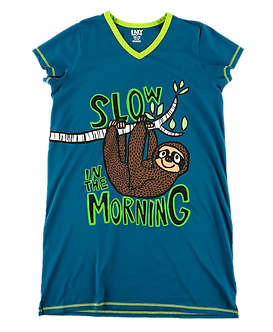 """Slow in the Morning"" Sloth Lazy One Nightshirt"