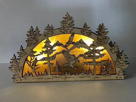 Unique Eagle Cut-Out Light-Up Box Figurine