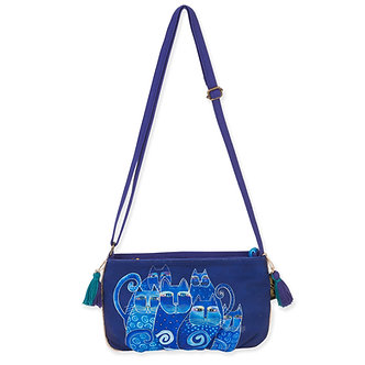 "Laurel Burch ""Indigo Cats"" Small Crossbody Purse"