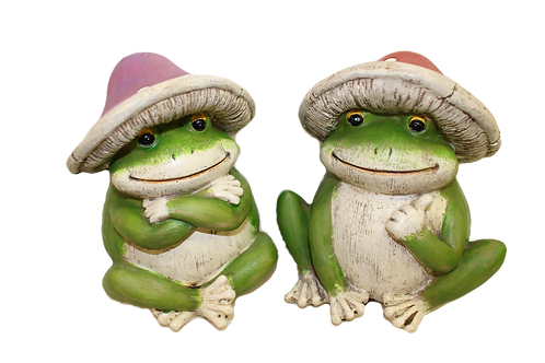 Frog with Mushroom Hat Figurine by Gerson