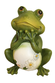 Large Frog Figurine with Daisies by Roman