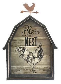 Decorative Rooster Barn Block Sign by Young's