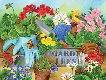 "500 Piece Bird Jigsaw Puzzle by SunsOut ""Gardener's Table"""