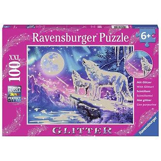 100 XXL Piece Twilight Howl Wolf Glitter Jigsaw Puzzle by Ravensburger