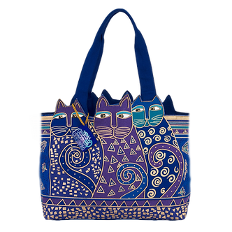 "Laurel Burch ""Indigo Cats"" Sm/Med Cat Cutout Purse/Tote Bag"
