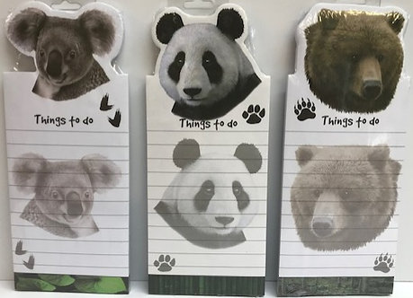 Magnetic Koala, Panda, Bear Notepads