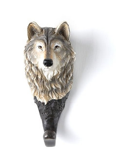 Large Grey Wolf Decorative Wall Hook