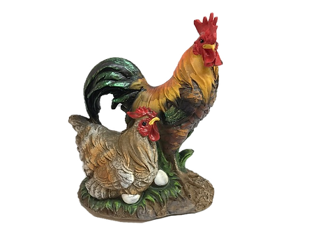 Large Rooster and Chicken Figurine by Gerson
