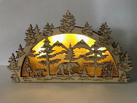 Unique Bear Cut-Out Light-Up Box Figurine