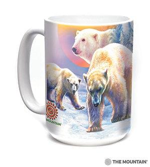 Sunrise Polar Bear Collage Ceramic Coffee Cup/Mug by The Mountain