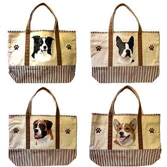 Border Collie, Boston Terrier, Boxer, Corgi Dog Canvas Tote Bag, by E&S Pets