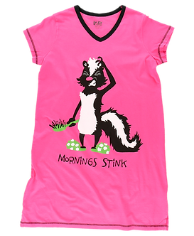 """Mornings Stink"" Skunk Lazy One Nightshirt"