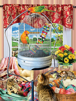 "1000 Piece Cat/Kitten Jigsaw Puzzle by SunsOut ""Bird Cage"""