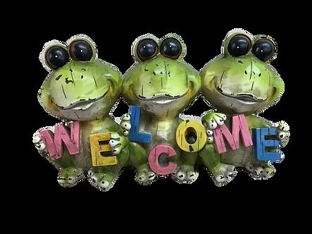 Three Buggy Eye Frog Welcome Sign Figurine