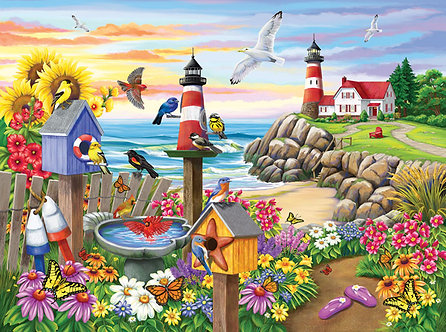 "1000 Piece Bird Jigsaw Puzzle by SunsOut ""Garden by the Sea"""