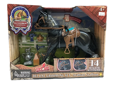 Arabian Stallion Black Horse Deluxe Toy Set