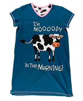 """""""I'm Moooody in the Morning"""" Cow Lazy One Nightshirt"""