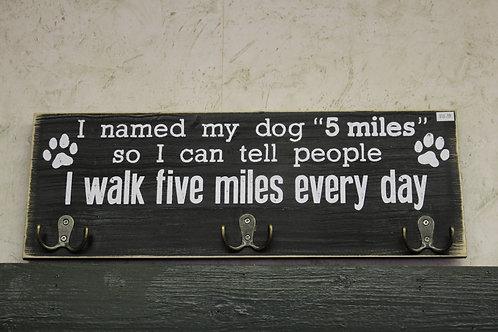 Wooden Dog Sign & Leash Holder