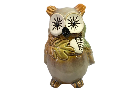 Small Ceramic Fall Owl Figurine