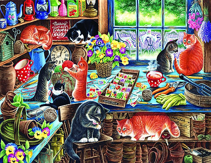 """1000 Piece Cat Jigsaw Puzzle by SunsOut """"In A Garden Shed"""""""
