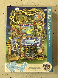 "350 Family Pieces Reptile Jigsaw Puzzle by Cobble Hill ""Reptiles and Amphibians"""