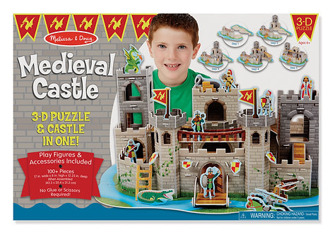 100 Piece Melissa & Doug Medieval Castle 3-D Puzzle and Play Set In One