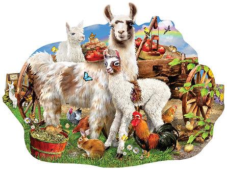 """1000 Piece Special Shape Llama Jigsaw Puzzle by SunsOut """"Llama Farm"""""""