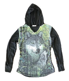 Beaded Wolf V-Neck Long Sleeve Hoodie Shirt by Sweet Gisele