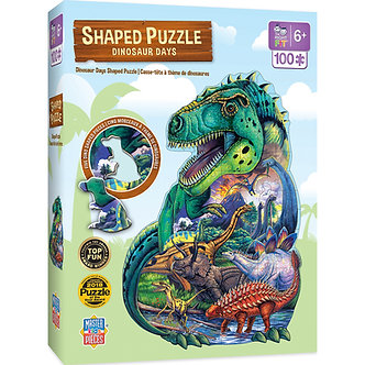 100 Piece Dinosaur Days Shaped Jigsaw Puzzle by MasterPieces