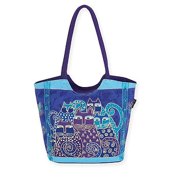 "Laurel Burch ""Indigo Cats"" Large Scoop Tote Bag"