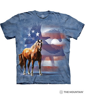 """Wild Star Flag"" Patriotic Horse Adult T-Shirt by The Mountain"
