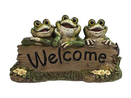 Three Cheerful Frogs Welcome Sign Figurine