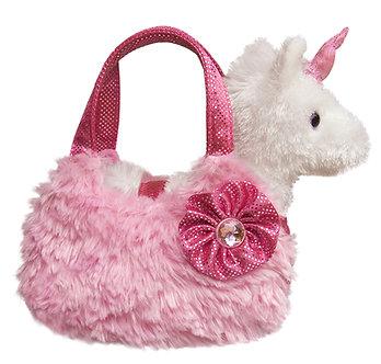 Fancy Pals White Unicorn Pink Plush Purse