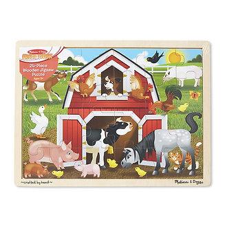 24 Piece Melissa & Doug Barnyard Buddies Wooden Jigsaw Puzzle