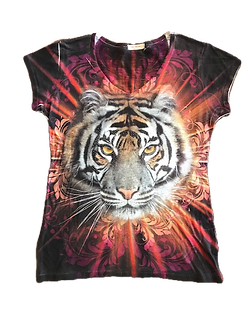 Beaded Tiger V-Neck Shirt by Sweet Gisele