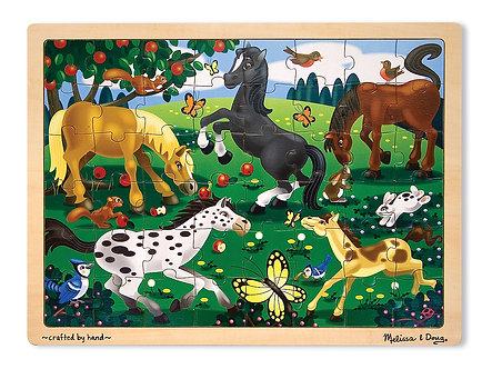 48 Piece Melissa & Doug Frolicking Horses Wooden Jigsaw Puzzle