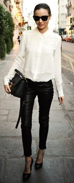 White Blouse, leather pants