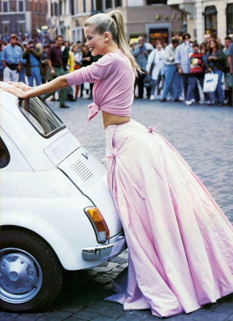 Eliane Porchet - Claudia Schiffer pink longdress