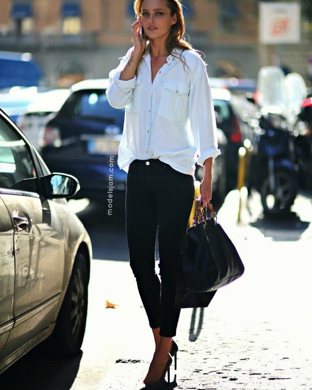 White casual blouse, black jeans