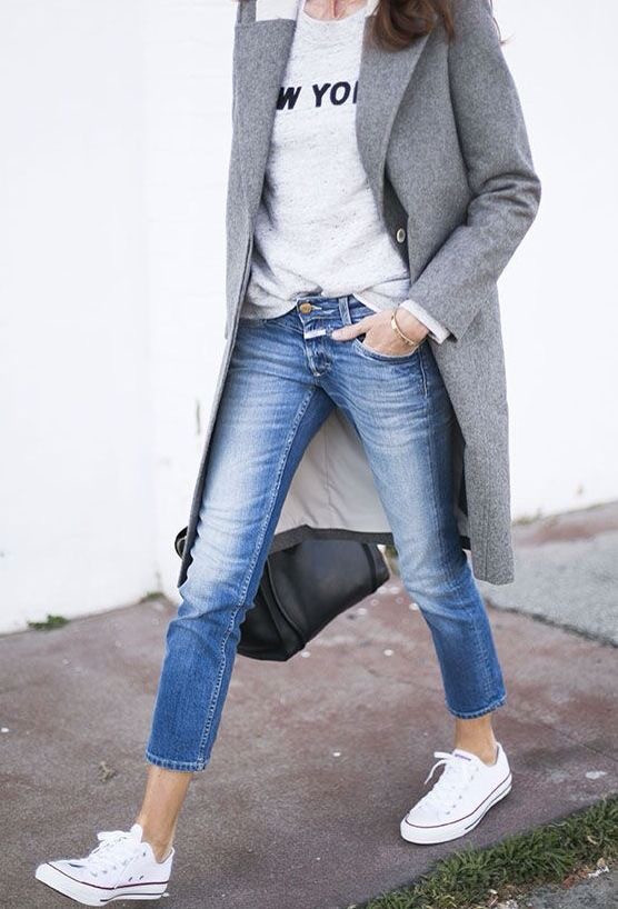Eliane Porchet Grey coat with jeans and converse