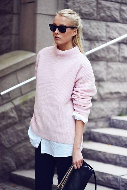 Eliane Porchet - rosepink jumper with white blouse