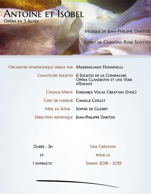 """Affiche temporaire de l'opéra en 3 actes """"Antoine et Isobel"""""""