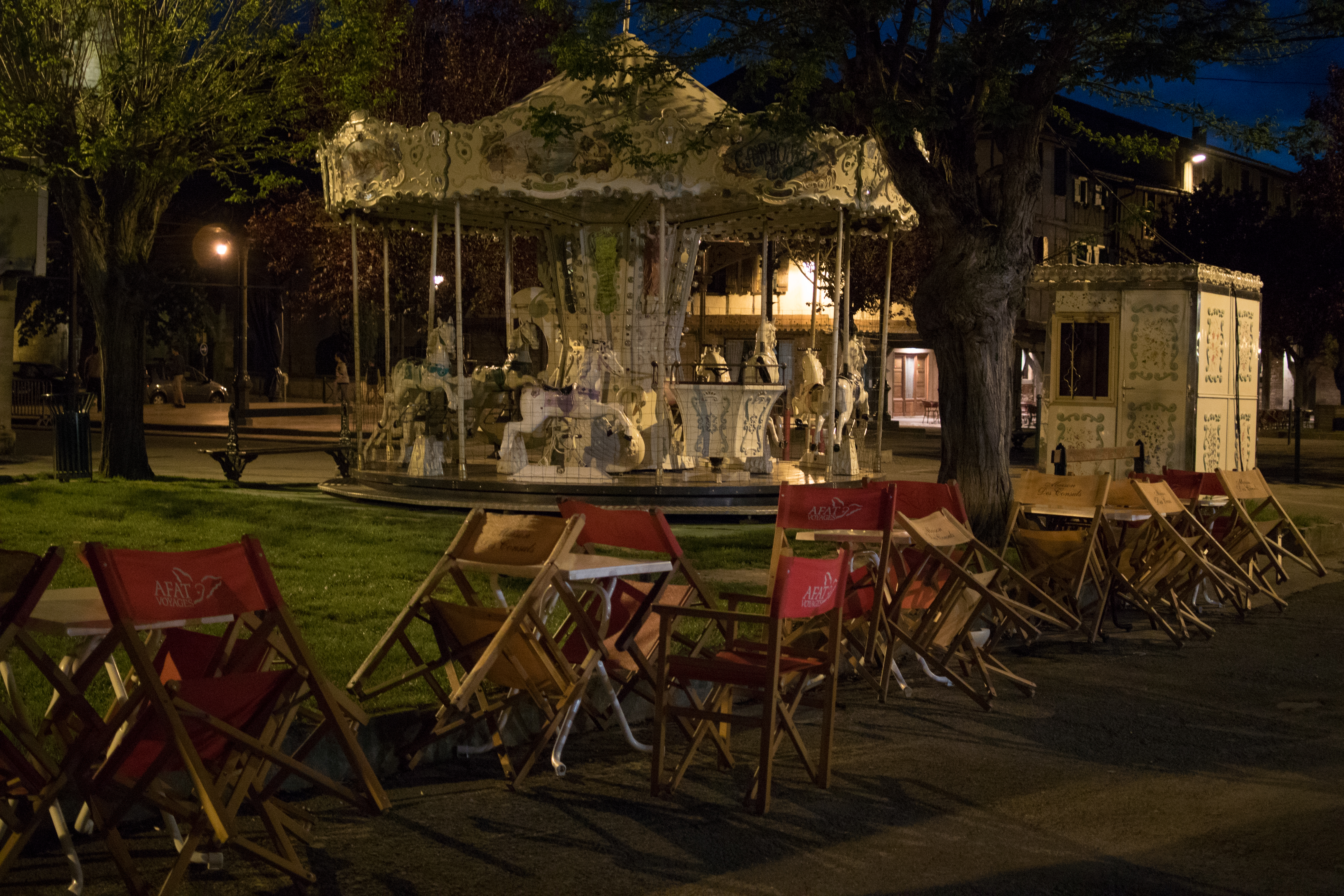 Merry Go-Round at Night in Mirepoix