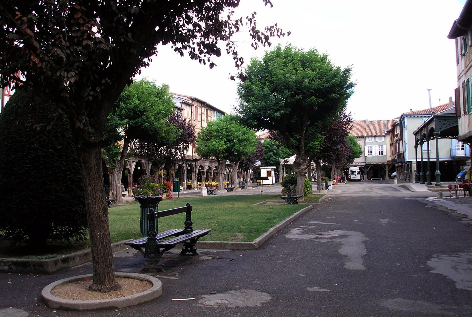 Mirepoix town square in summer