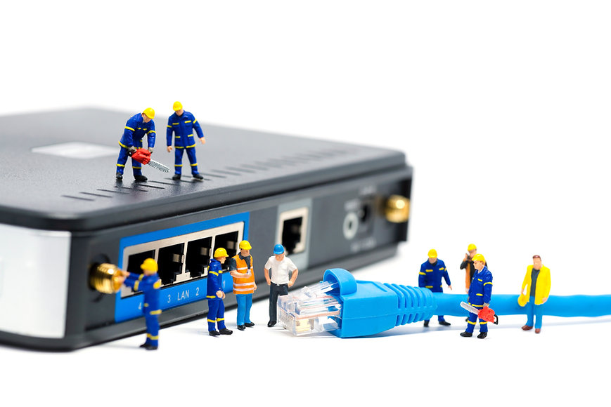 Technicians connecting network cable. Ne