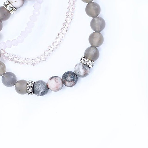 Pink Zebra Jasper | Gray Agate - Crystal Mala Bracelet