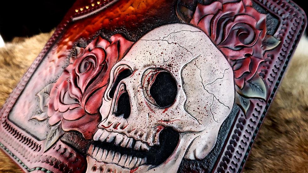 Skull and Roses Long Wallet