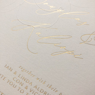 Wedding Invite - foil and emboss on soft cotton stock