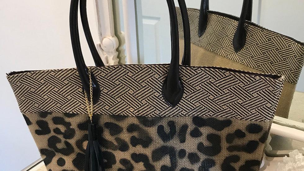Jute Hessian Tote bag( pattern)