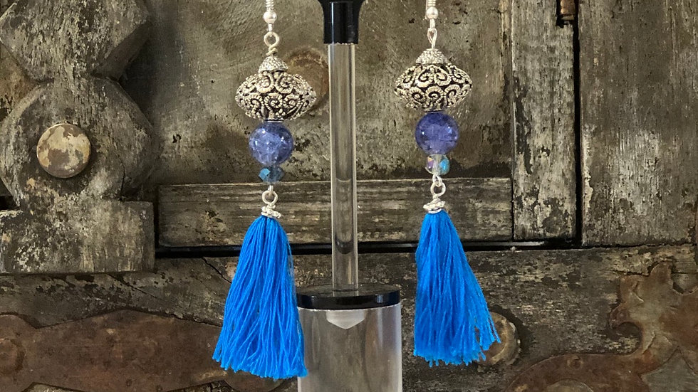 Blue large Tassel earrings